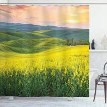 """Ambesonne Yellow Shower Curtain, Spring Landscape Wildflower Fields Sunrise Colorful Sky and Hills Valley Picture, Cloth Fabric Bathroom Decor Set with Hooks, 75"""" Long, Yellow Green"""
