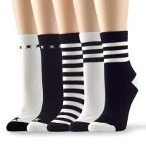 Socksmood 5 Pairs Women's Cotton Crew Socks Stripe Patterns Assorted Colors