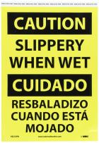 "NMC ESC57PB Bilingual OSHA Sign, Legend ""CAUTION - SLIPPERY WHEN WET"", 10"" Length x 14"" Height, Pressure Sensitive Vinyl, Black On Yellow"
