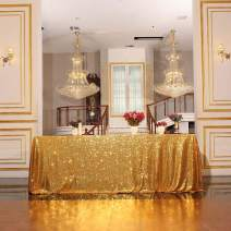 Poise3EHome Sequin Tablecloth 60x102 Inches Rectangle Table Line for Wedding Christmas Party Cake Dessert Events Decorations, Gold