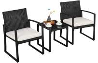 YAHEETECH 3pcs Outdoor Conversation Set Patio Bistro Furniture Wicker Chairs with Rattan Table and Cushions for Patios/Backyards/Porches/Gardens/Poolside/Lawn/Yard