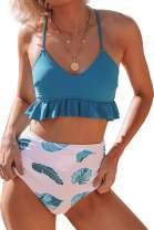 CUPSHE Women's Blue Leaf Print Lace Up Ruffled Bikini
