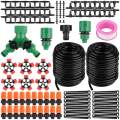 Garden Irrigation Drip Kit, 100ft/30M Plant Automatic Watering System - Micro DIY Irrigation Tubing Kits, Blank Distribution Hose Atomizing Nozzles Drippers for Greenhouse, Flower Bed,Patio,Lawn