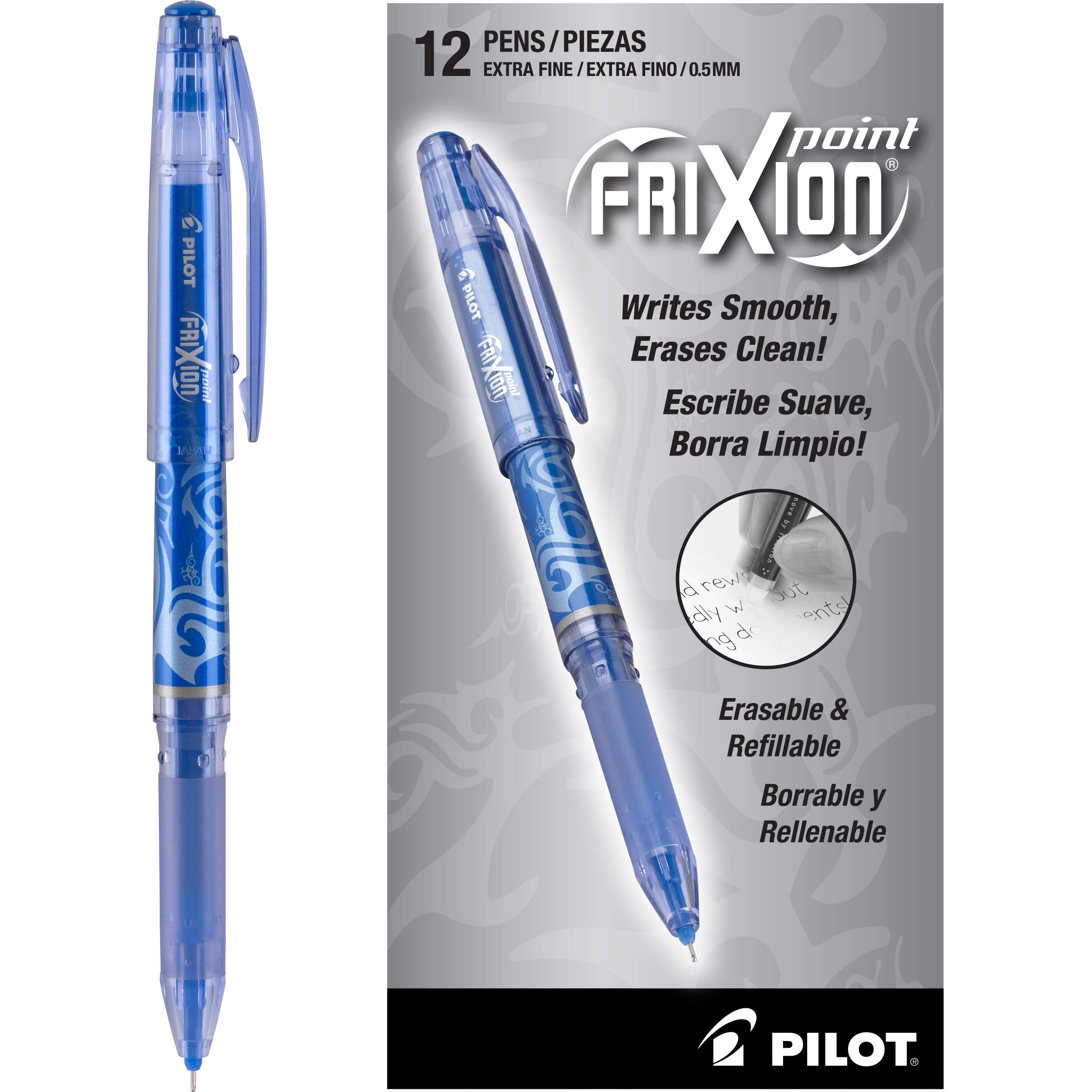 PILOT FriXion Point Erasable & Refillable Gel Ink Pens, Extra Fine Point, Blue Ink, 12 Count (31574)