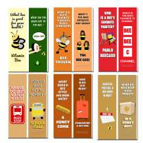 Creanoso Funny Series 4 Bookmarks – Bee Jokes (12-Pack) – Silly and Hilarious Book Page Clippers Set – Book Reading Rewards Incentives Gift Ideas – Unique Giveaways for Men Women Teens