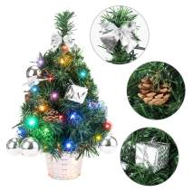 """EFORINK Mini Christmas Tree with Lights 18"""" Prelit Artificial Xmas Tree with 40 LED Lights and Ornaments, Perfect Tabletop Xmas Decoration for Your Home and Office,3AA Battery Operated, 45cm, Silver"""