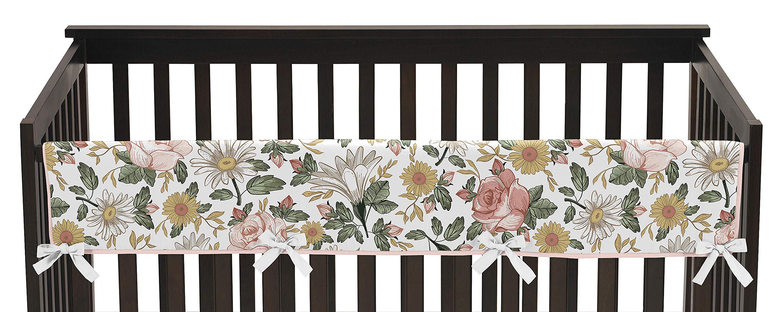Sweet Jojo Designs Vintage Floral Boho Girl Long Front Crib Rail Guard Baby Teething Cover Protector Wrap - Blush Pink, Yellow, Green and White Shabby Chic Rose Flower Farmhouse