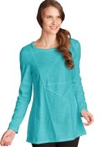 Neon Buddha Women's 100% Cotton Top Female Long Sleeve T Shirt Boat Neckline Exposed Seams