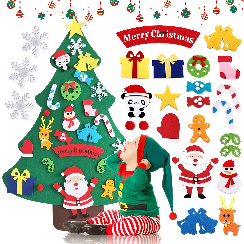 Bieyaaso 3.2ft DIY Felt Christmas Tree Set for Kids Ornaments,Xmas Decorations Wall Door Hanging Ornaments Kids Gifts Christmas Toy for Toddlers Kids Boys Girls