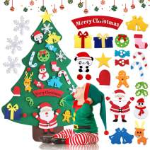 Bieyaaso 3.2ft DIY Felt Christmas Tree Set for Kids Ornaments,Xmas Decorations Wall Door Hanging Ornaments Kids Gifts Christmas Toy for Toddlers Kids Boys Girls