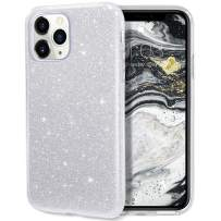 MILPROX iPhone 11 Pro Max Case, Bling Sparkly Glitter Luxury Shiny Sparker Shell, Protective 3 Layer Hybrid Anti-Slick Slim Soft Cover for iPhone 11 Pro Max 6.5 inch (2019)-Silver