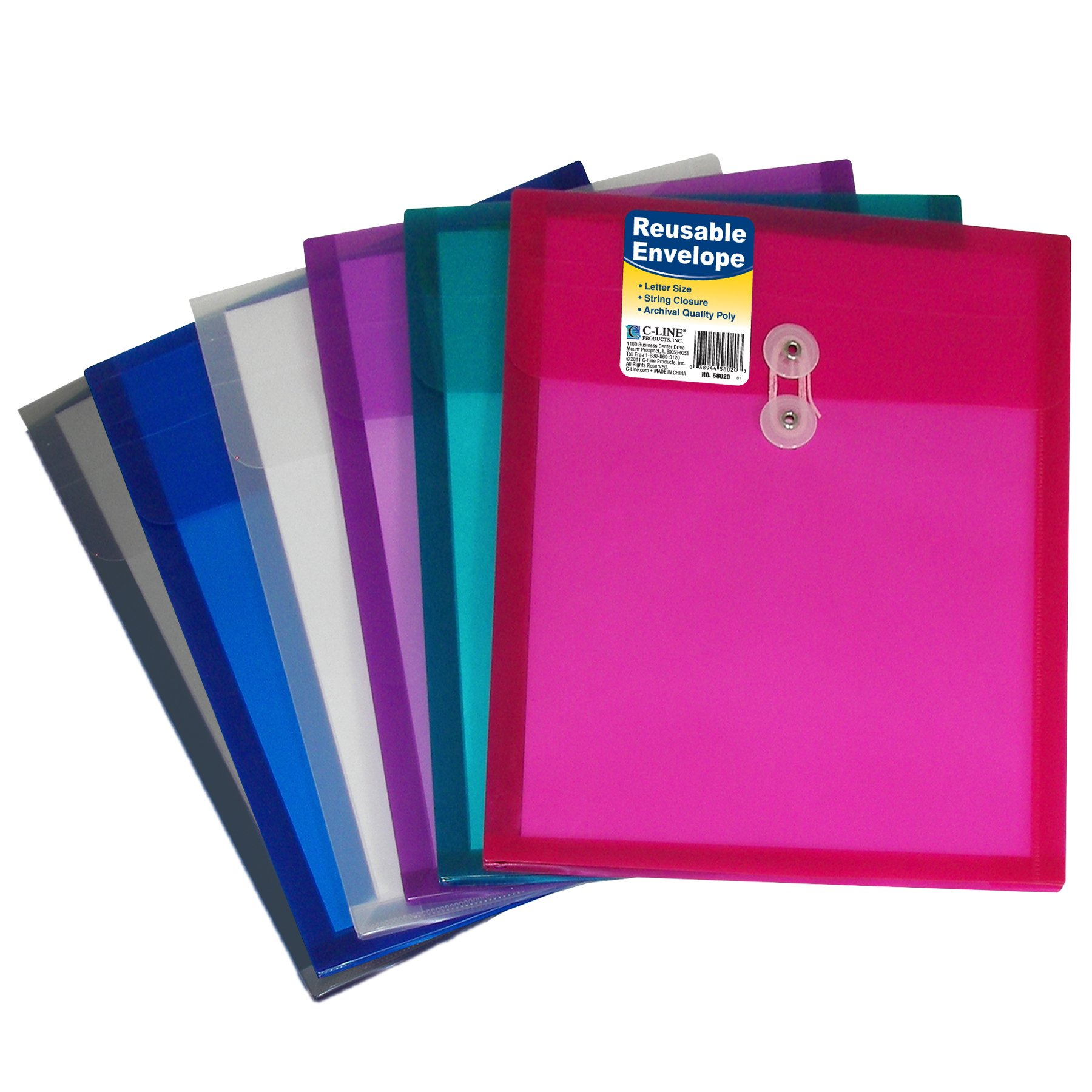 C-Line Reusable Poly Envelope with String Closure, 1-Inch Gusset, Top Load, Letter Size, Pack of 24 Envelopes, Assorted Colors (58020-24)