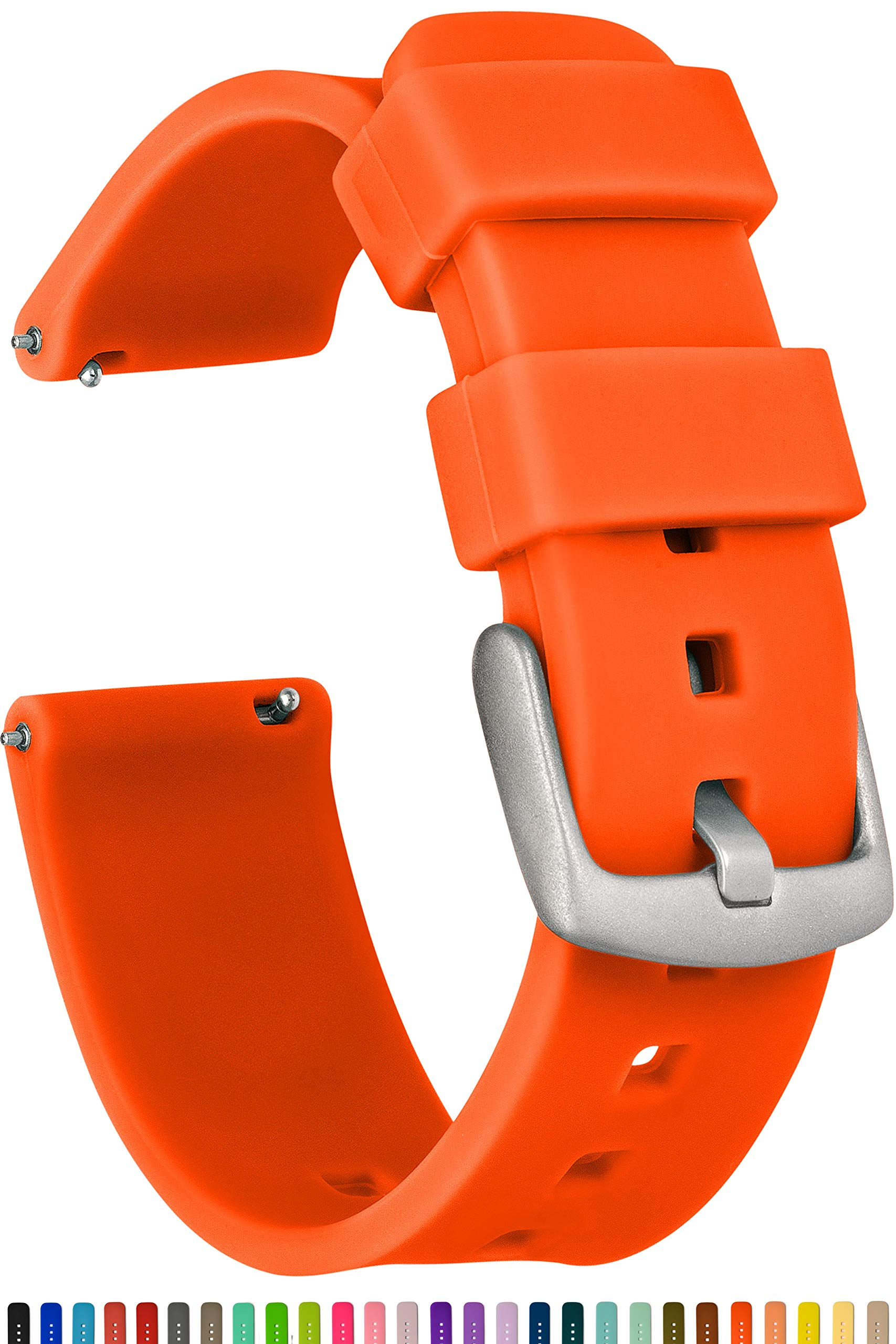 GadgetWraps 18mm Silicone Watch Band Strap with Quick Release Pins – Compatible with Speidel, Daniel Wellington, Wristology - 18mm Quick Release Watch Band (Pure Orange, 18mm)
