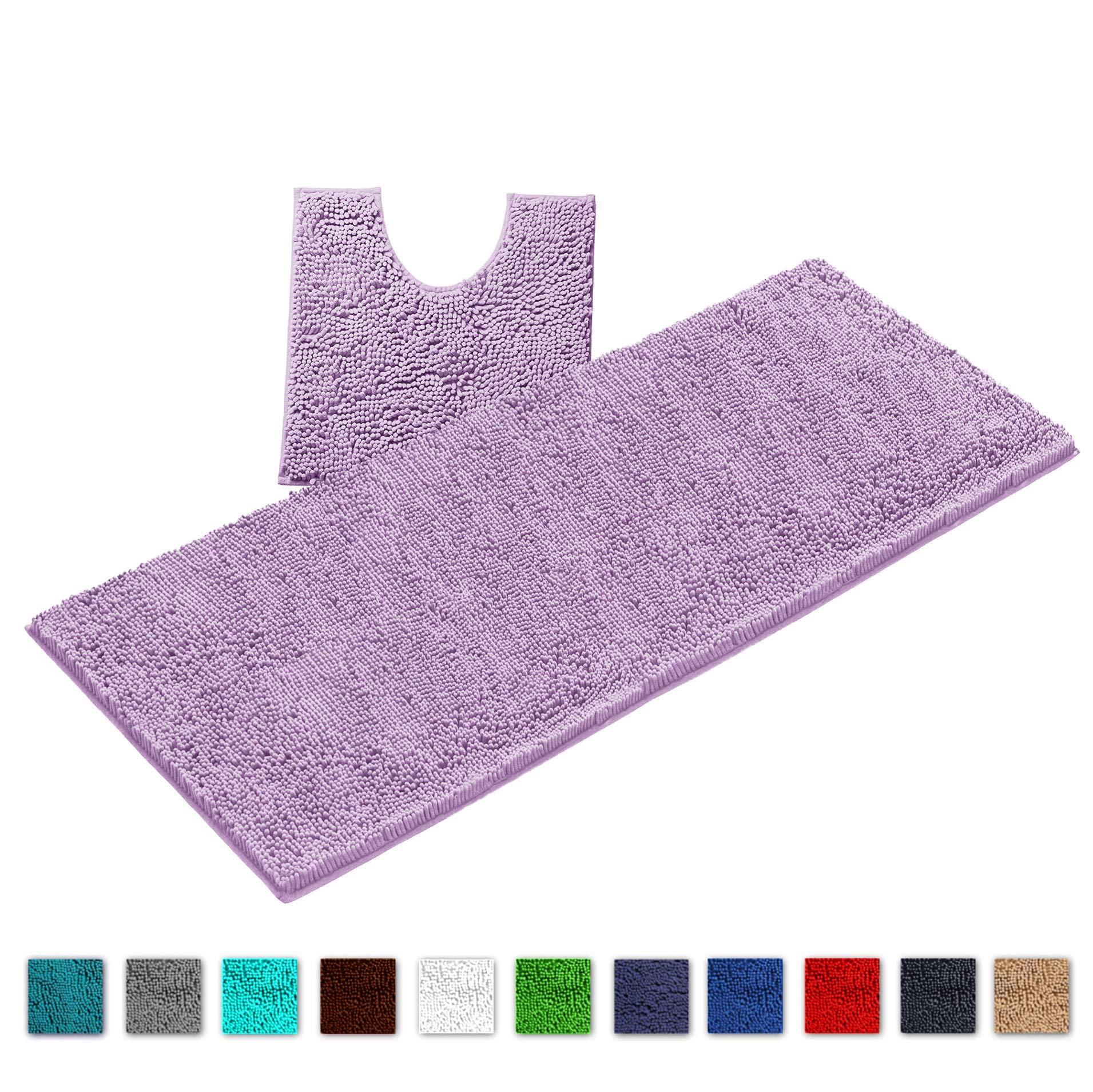 LuxUrux Bathroom Rugs Luxury Chenille 2-Piece Bath Mat Set, Soft Anti-Slip Bath Rug +Toilet Mat.1'' Microfiber Shaggy Carpet, Super Absorbent Machine Washable Bath Mats (Curved Set X-Large, Lavender)