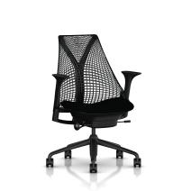 Herman Miller Sayl Ergonomic Office Chair with Tilt Limiter and Carpet Casters   Stationary Seat Depth and Arms   Black Frame with Licorice Crepe Seat
