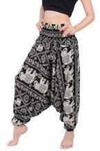 Banjamath Women's Peacock Print Aladdin Harem Hippie Pants Jumpsuit