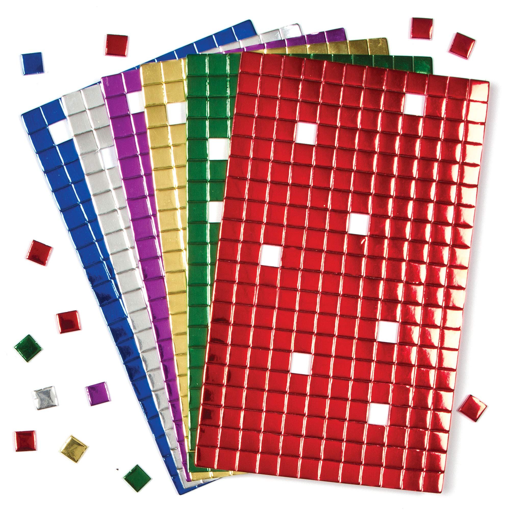 Baker Ross Self-Adhesive Foam Mosaic Square Decoration Stickers   Fun Arts and Crafts Project   No Glue or Scissors Needed   Pack of 1,440 Shiny Tiles