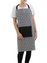 "Apron, 100% Cotton of Size 28""X32 Inch with Adjustable neck & center pocket, Eco-Friendly & Safe, Black Hive Design for Kitchen"