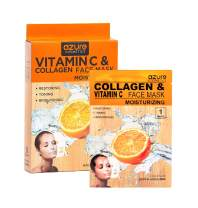 AZURE Vitamin C & Collagen Moisturizing Sheet Face Mask - Reduces Signs of Aging | Deeply Moisturizing & Firming | Improves Elasticity | Made in Korea - 5 Pack
