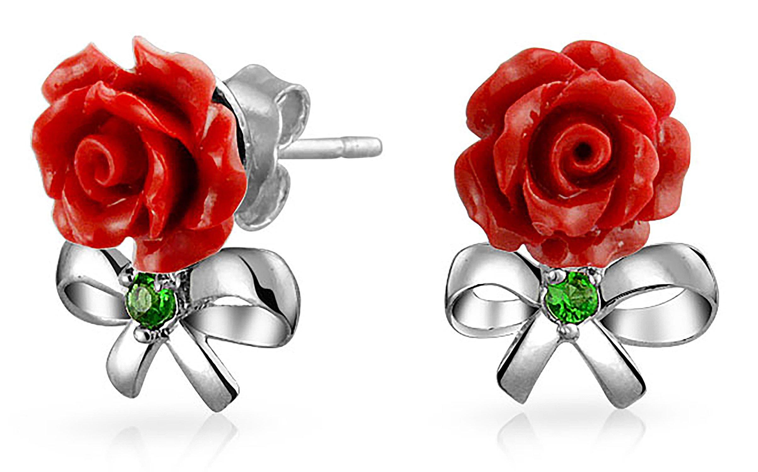 Flower CZ Bow Ribbon 3D Craved Red Rose Stud Earrings For Women For Teen 925 Sterling Silver