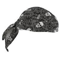 Ergodyne Chill Its 6615 Dew Rag, Lined with Terry Cloth Sweatband, Sweat Wicking, Skulls