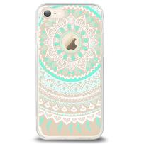 Ailun Phone Case Compatible with iPhone 8 7 Solid Acrylic Back Reinforced Soft Clear TPU Frame Ultra Slim Shock Absorption Bumper Anti Scratch Fingerprint Oil Stain Cover Mandala Mintgreen