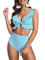 Saodimallsu Womens Ruffle Striped Push Up Bikini Set Two Piece High Waisted Swimsuits Triangle Tie Front Bathing Suits