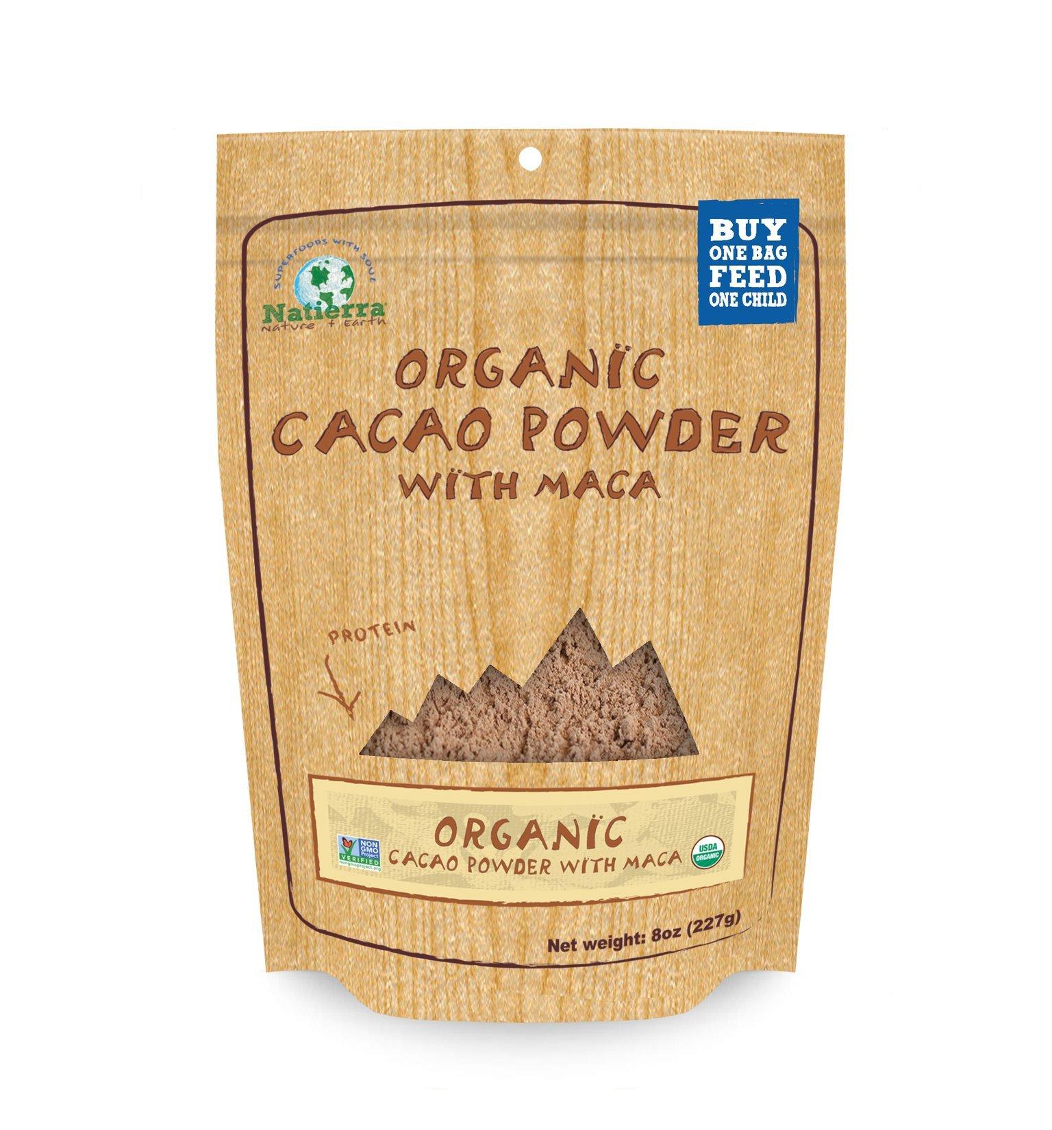 NATIERRA HimalaniaOrganic Cacao Powder with Maca Pouch | Non-GMO & Vegan  | 8 Ounce