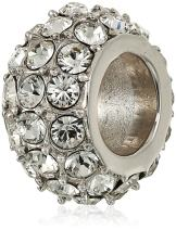 J'ADMIRE 1 cttw Swarovski Crystal Pave Bead Charm- Platinum Plated Sterling Silver