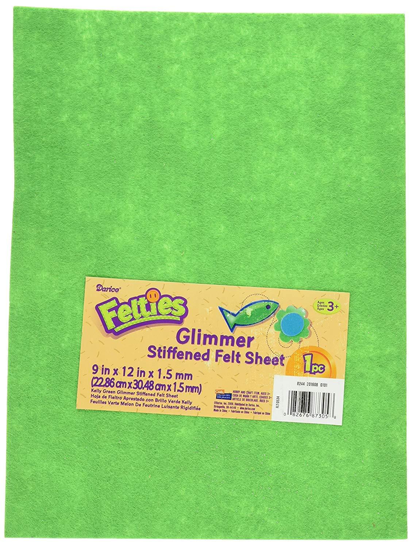 """Darice, 9 by 12 inch, Glimmer Felt Sheet, Kelly Green, 1 (9"""" x 12"""")"""