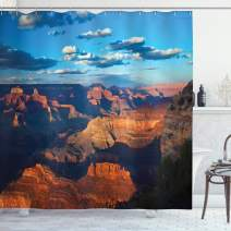 "Lunarable Grand Canyon Shower Curtain, Historic Rocky Formation at Sunrise Sky and Clouds Photo, Cloth Fabric Bathroom Decor Set with Hooks, 70"" Long, Rust Sky"
