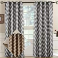 Royal Bedding Lisette Chevron Charcoal Panels, Top Grommet Jacquard Window Curtain Panel, Set of 2 Panels, 54x96 Inches Each