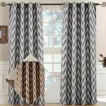 Royal Bedding Lisette Chevron Charcoal Panels, Top Grommet Jacquard Window Curtain Panel, Set of 2 Panels, 54x63 Inches Each