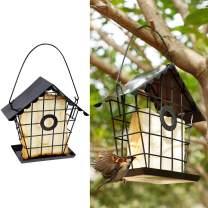 FORUP Suet Bird Feeder, Hanging Suet Feeder for Outside, Single Suet Cake Wild Bird Feeder with Hanging Metal Roof