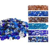 GasSaf 20-Pound Cashew Shape Fire Glass Blended Caribbean Blue,Cobalt Blue,Crystal Ice,Onyx Black for Indoor and Outdoor Gas Fire Pits and Fireplaces
