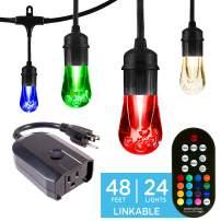 Enbrighten 45067 Color Changing Café (48ft. 24 LED Bulb) Works with Alexa Outdoor String Lights Kit: Vintage LE, 48 ft, Black w/Wifi Smart Plug