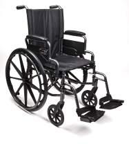 "Everest & Jennings Traveler L4 Lightweight Wheelchair, Flip-Back Desk Arms & Swingaway Footrests, 20x16"" Seat, Silvervein Color"