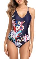 Sociala Women's V Neck One Piece Plunge Swimsuit Floral Bathing Suit Slimming