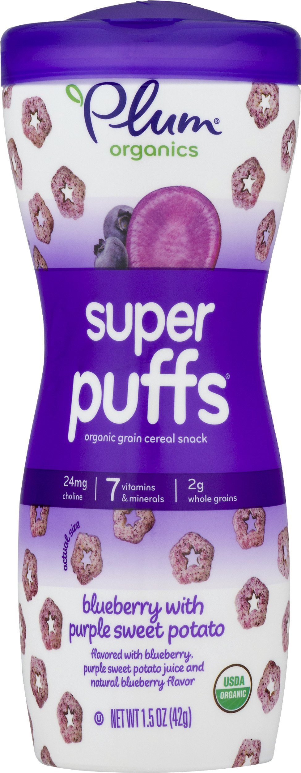 Plum Organics Baby Super Puffs, Blueberry with Purple Sweet Potato, 1.5 Ounce (Pack of 8)