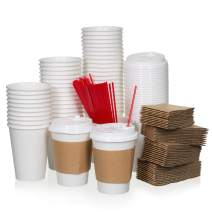 20oz- 50 Sets White Paper Coffee Cups with Lids, Sleeves, and Stirrers