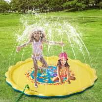"COUOMOXA Splash Pad Outdoor Water Play Sprinklers Toy for Kids UpgradedInflatable68"" Summer Cooler Water Fun Backyard Splash Play Mat for Toddlers Boys Girls Pets"