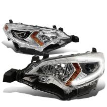 DNA MOTORING Chrome amber HL-OH-110-CH-AM Pair of Projector LED Headlight [for 14-16 Corolla]