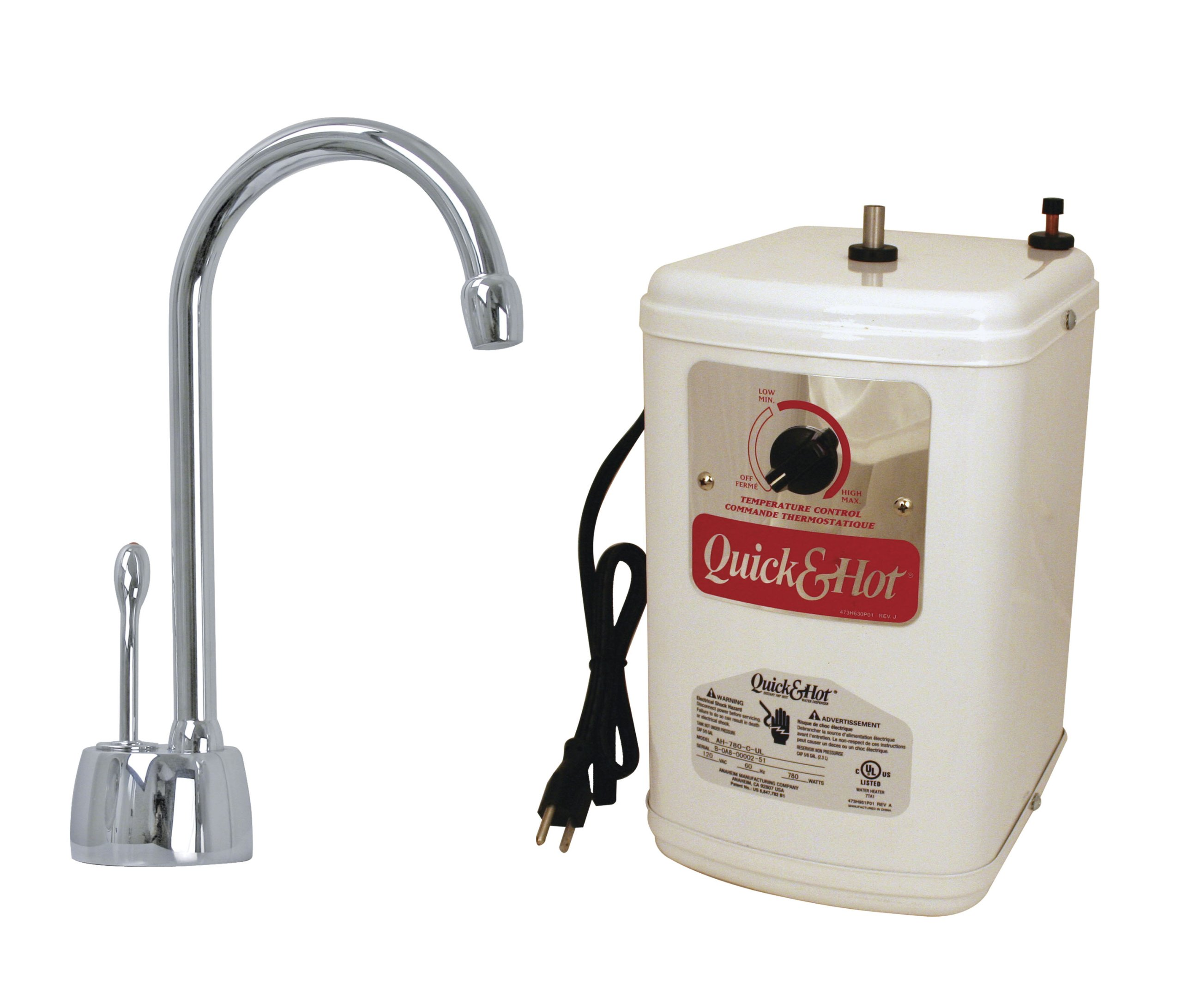 Westbrass Velosah 1-Handle Hot Water Dispenser Faucet with Instant Hot Tank, Polished Chrome, D271H-26