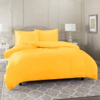 Nestl Bedding Duvet Cover with Fitted Sheet 4 Piece Set - Soft Double Brushed Microfiber Hotel Collection - Comforter Cover with Button Closure, Fitted Sheet, 2 Pillow Shams, Queen - Yellow