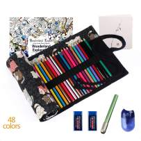 ThEast Premier Colored Pencils for Adult Coloring Book Premium Artist Colored Pencil Set Handmade Canvas Pencil Wrap Extra Accessories Included Oil based Colored Pencil Holiday Gift (48 colors set)
