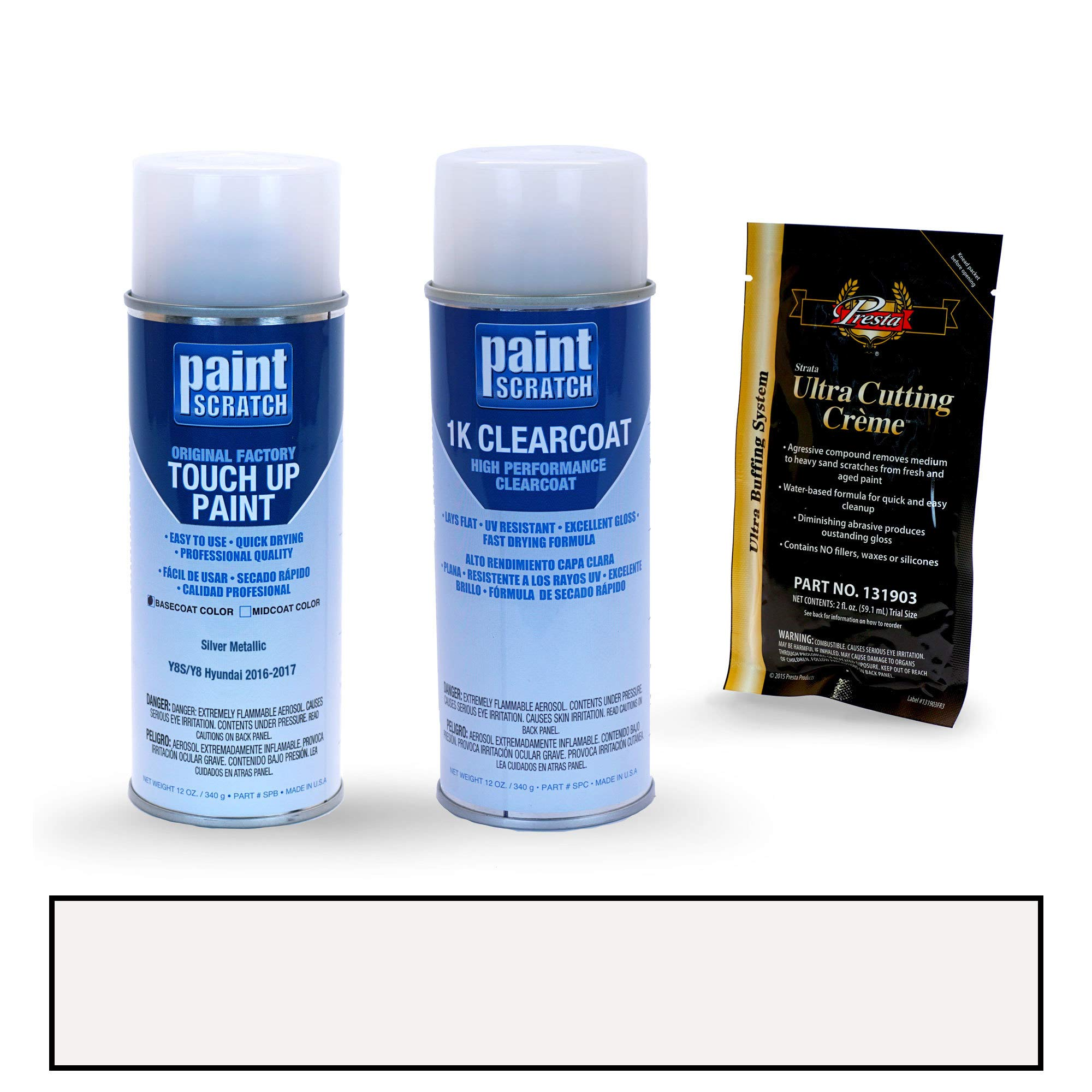 PAINTSCRATCH Touch Up Paint Spray Can Car Scratch Repair Kit - Compatible with Hyundai Elantra Silver Metallic (Color Code: Y8S/Y8)