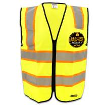 KwikSafety ATHLETE | Class 2 Safety Contrasting Construction Vest | 360° High Visibility Reflective ANSI Compliant Work Wear | Hi Vis Yellow Heavy Duty Zipper Chest Pocket | Men Women Slim Fit | Med