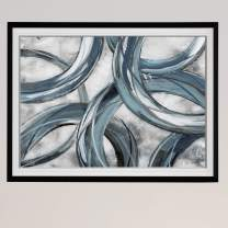 Renditions Gallery HAC18-19357-2436BF Ring Around Abstract Artwork Contemporary Art Framed Black Blue Giclee Canvas Prints Home Wall Decor Painting