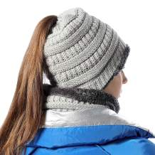 Womens Infinity Scarf and Slouchy Knit Beanie Matching Winter Set Light Gray
