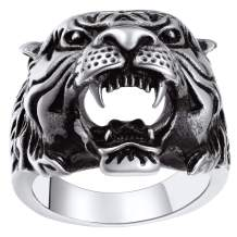 ChainsPro Mens Stunning Tiger Head Rings, Nice Craftmanship, Spiritual Animal Ring, Size #7-#14, 316L Stainless Steel/18K Gold Plated (Send Gift Box)